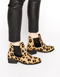 Warehouse Animal Print Flat Chelsea Boots Animalprint