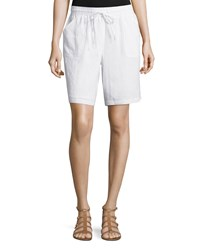Neiman Marcus Linen Drawstring Shorts Simply White