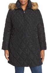 Plus Size Women's Jessica Simpson Faux Fur Trim Hooded Quilted Down And Feather Fill Coat