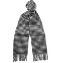 J.Crew Double Sided Checked Brushed Cashmere Scarf Blue