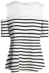 Claudie Pierlot Cold Shoulder Striped Knitted Top Ivory