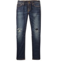 Nudie Jeans Skinny Lin Distressed Organic Stretch Denim Indigo