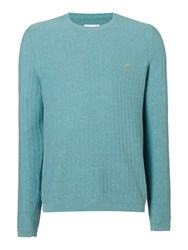 Farah Men's Textured Crew Neck Jumper Oatmeal