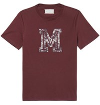Maison Martin Margiela Slim Fit Printed Cotton Jersey T Shirt Burgundy