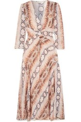 Maje Gathered Snake Print Crepe De Chine Dress Ivory