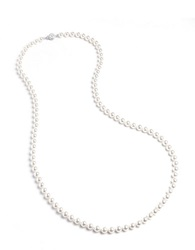 Nadri Long Knotted Faux Pearl Necklace White