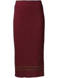 Muveil Ribbed Mid Length Pencil Skirt Red