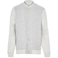 River Island Mensecru Textured Quilted Bomber Jacket