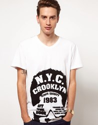 Solid T Shirt With Nyc Print White