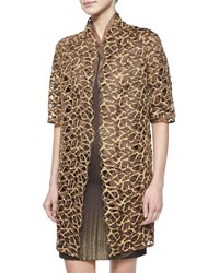Akris Metallic Trapezoid Lace Coat Caramel Gold