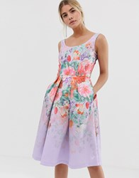 Chi Chi London Satin Midi Prom Dress With Deep Scoop Neck With Floral Placement Multi