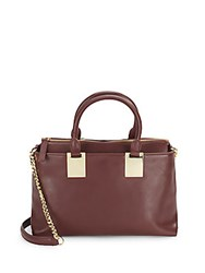 Vince Camuto Leather Zipped Satchel Dark Red
