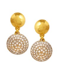 Lentil Ice 24K Gold And Diamond Drop Earrings Gurhan White