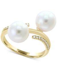 Effy Pearl Lace By Cultured Freshwater Pearl 8Mm And Diamond 1 10 Ct. T.W. Ring In 14K Gold White