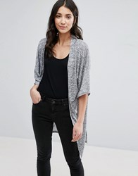 Brave Soul Loose Cardigan Charcoal Grey