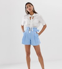 River Island Tailored Shorts With Paper Bag Waist In Blue