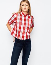 Fred Perry Boxy Tartan Shirt Red