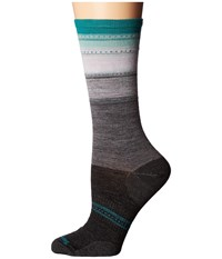 Smartwool Sulawesi Stripe Charcoal Heather Mint Women's Crew Cut Socks Shoes Black