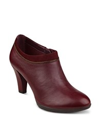 Anne Klein Dalayne Leather Ankle Booties Wine