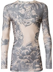 Dsquared2 Underwear Tattoo Printed Sheer T Shirt Nude And Neutrals