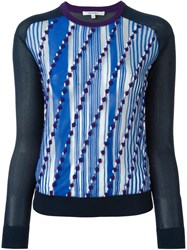 Carven Front Print Sweater Blue