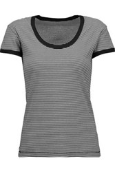 R 13 R13 Striped Cotton Blend T Shirt Black