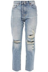 Iro Woman Cropped Distressed High Rise Straight Leg Jeans Light Denim