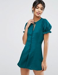 Asos Button Front Playsuit With 40S Sleeves Teal Blue