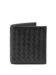 Bottega Veneta Intrecciato Bi Fold Leather Wallet Black