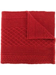 Pringle Of Scotland Cable Knit Scarf Cashmere Wool Red