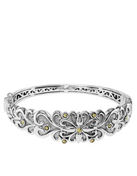 Effy Balissima Sterling Silver And 18K Yellow Gold Fleur De Lis Bangle Bracelet Silver Gold