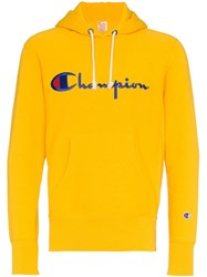 Champion Logo Embroidered Hoodie Yellow And Orange