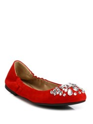 Tory Burch Delphine Crystal And Suede Ballet Flats Navy Black Maple