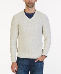 Nautica Men's Textured Knit V Neck Sweater Moss Heather