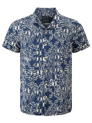 John Lewis And Co. Aztec Print Short Sleeve Shirt Indigo