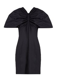 Jacquemus Structured Sleeve Wool Mini Dress Navy