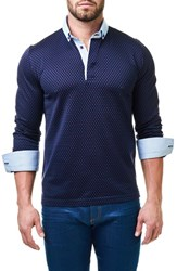 Maceoo Men's Circle Contemporary Fit Polo With Woven Cuffs