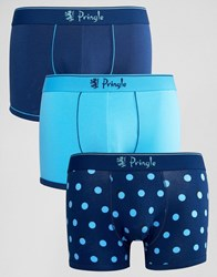 Pringle 3 Pack Trunks In Polka Dot Blue Blue