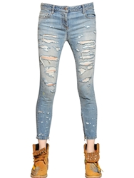 Faith Connexion Destroyed Stretch Cotton Denim Jeans Blue