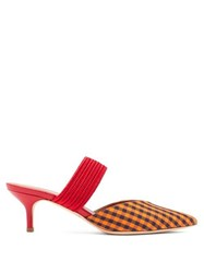 Malone Souliers Maisie Gingham Kitten Heel Mules Orange Multi