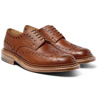 Grenson Archie Triple Welt Pebble Grain Leather Wingtip Brogues Brown