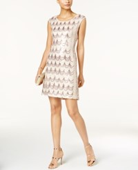 Connected Sequined Sheath Dress Rose Gold