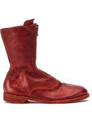 Guidi Zipped Ankle Boots Red
