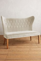 Anthropologie Velvet Wingback Bench Armless Snow