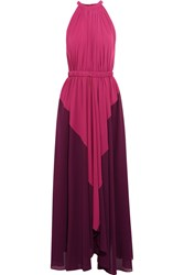 Saloni Iris Ruched Two Tone Crepe Maxi Dress Purple
