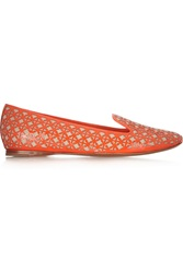 Tory Burch Maura Laser Cut Patent Leather And Canvas Loafers