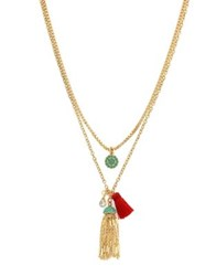 Jessica Simpson Crystal Double Layer Necklace Gold