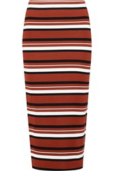 Dkny Striped Ribbed Cotton Blend Midi Skirt Red