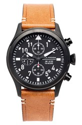 Men's Jack Mason Brand Chronograph Leather Strap Watch 42Mm Black Black Tan