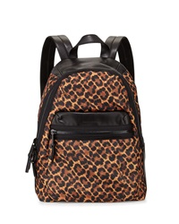 French Connection Piper Contrast Trim Nylon Backpack Leopard Bl